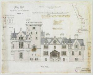 Moy Hall - desenho do alçado Sul pelo arquitecto Alexander Ross (1872) - imagem retirada do website do Canmore, em https://canmore.org.uk/site/14102/moy-hall?display=image